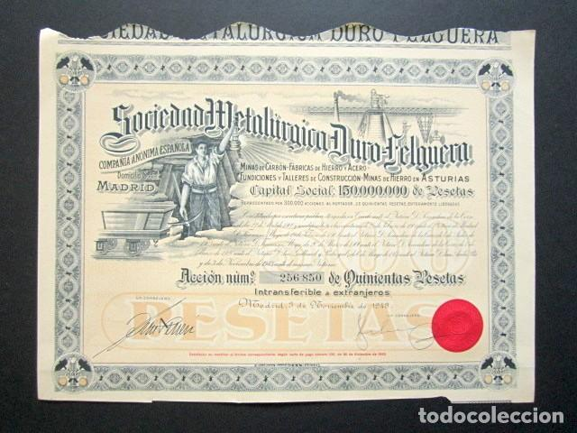 ACCIÓN SOCIEDAD METALÚRGICA DURO-FELGUERA, ASTURIAS. MADRID, AÑO 1943. (Coleccionismo - Acciones Españolas)