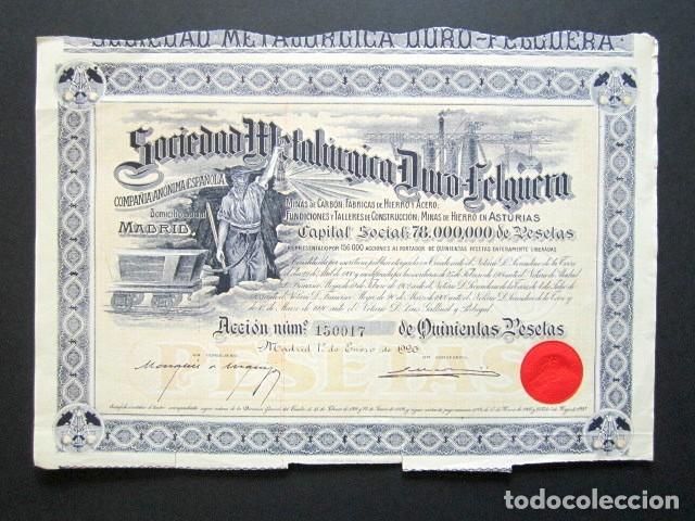 ACCIÓN SOCIEDAD METALÚRGICA DURO-FELGUERA, ASTURIAS. MADRID, AÑO 1920. (Coleccionismo - Acciones Españolas)