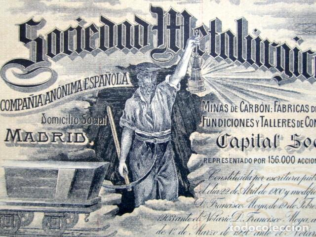 Coleccionismo Acciones Españolas: ACCIÓN SOCIEDAD METALÚRGICA DURO-FELGUERA, ASTURIAS. MADRID, AÑO 1920. - Foto 2 - 146392446