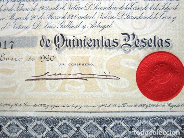 Coleccionismo Acciones Españolas: ACCIÓN SOCIEDAD METALÚRGICA DURO-FELGUERA, ASTURIAS. MADRID, AÑO 1920. - Foto 3 - 146392446
