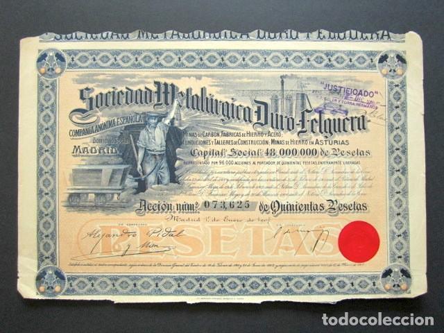 ACCIÓN SOCIEDAD METALÚRGICA DURO-FELGUERA, ASTURIAS. MADRID, AÑO 1907. (Coleccionismo - Acciones Españolas)