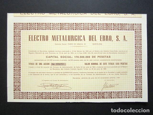 ACCIÓN ELECTRO METALÚRGICA DEL EBRO, S.A. BARCELONA, 1982. (Coleccionismo - Acciones Españolas)