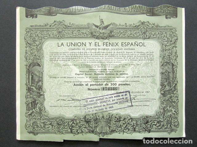 ACCIÓN LA UNIÓN Y EL FÉNIX ESPAÑOL. COMPAÑÍA DE SEGUROS. MADRID, 1962. (Coleccionismo - Acciones Españolas)