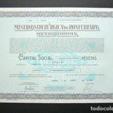 Collectionnisme Actions Espagne: ACCIÓN MINERO SIDERÚRGICA DE PONFERRADA SOCIEDAD ANÓNIMA, LEÓN. MINAS. MADRID, 1984.. Lote 146488302