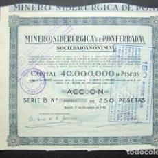 Collectionnisme Actions Espagne: ACCIÓN MINERO SIDERÚRGICA DE PONFERRADA SOCIEDAD ANÓNIMA, LEÓN. MINAS. MADRID, 1940.. Lote 146489090