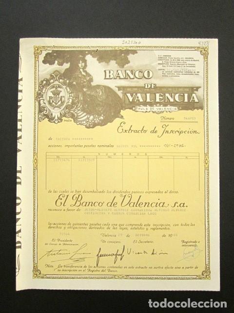 ACCIÓN BANCO DE VALENCIA. VALENCIA, 1988. (Coleccionismo - Acciones Españolas)