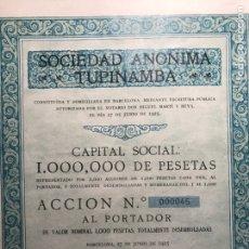 Coleccionismo Acciones Españolas: SOCIEDAD ANÓNIMA TUPINAMBA. MUY RARA. BARCELONA 1925. Lote 146732468