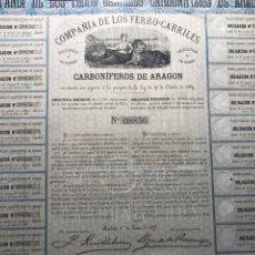 Coleccionismo Acciones Españolas: COMPAÑÍA FERROCARRILES. CARBONÍFEROS ARAGON. PERFECTA. 1873. Lote 146734370