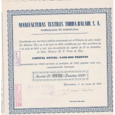 Coleccionismo Acciones Españolas: MANUFACTURAS TORRA BALARI SA 1946. Lote 146882778