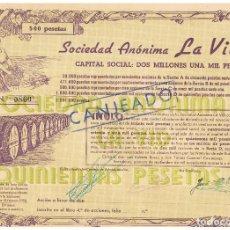Coleccionismo Acciones Españolas: SOCIEDAD ANONIMA LA VID 1932. Lote 146883014