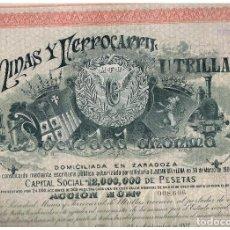 Coleccionismo Acciones Españolas: MINAS Y FERROCARRIL UTRILLAS SA 1902. Lote 146883806