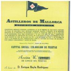 Coleccionismo Acciones Españolas: ASTILLEROS DE MALLORCA 1975 - FIRMA JAVIER DE LA ROSA. Lote 146884882