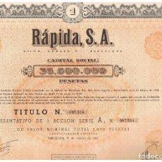 Coleccionismo Acciones Españolas: RAPIDA SA 1962. Lote 146885718