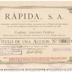 Coleccionismo Acciones Españolas: RAPIDA SA 1920. Lote 146887374