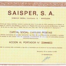 Coleccionismo Acciones Españolas: SAISPER SA . Lote 146887710