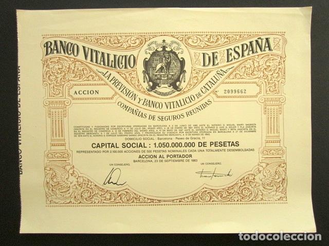 ACCIÓN BANCO VITALICIO DE ESPAÑA. BARCELONA, 1983. (Coleccionismo - Acciones Españolas)