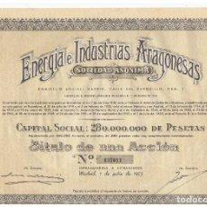 Coleccionismo Acciones Españolas: ENERGIA E INDUSTRIAS ARAGONESAS 1953. Lote 146966826