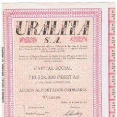Coleccionismo Acciones Españolas: URALITA 1975. Lote 146966962