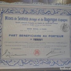 Collezionismo Azioni Spagnole: MINAS DE SENTEIN Y DE BAGERGUE (VALLE DE ARÁN, LÉRIDA). Lote 147019742