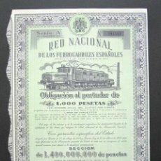Coleccionismo Acciones Españolas: OBLIGACIÓN RENFE. RED NACIONAL DE FERROCARRILES ESPAÑOLES. SERIE A. 1.000 PESETAS. MADRID, 1953. . Lote 147026746