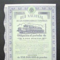 Coleccionismo Acciones Españolas: OBLIGACIÓN RENFE. RED NACIONAL DE FERROCARRILES ESPAÑOLES. SERIE A. 1.000 PESETAS. MADRID, 1952. . Lote 147026858
