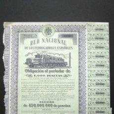 Coleccionismo Acciones Españolas: OBLIGACIÓN RENFE. RED NACIONAL DE FERROCARRILES ESPAÑOLES. SERIE A. 1.000 PESETAS. MADRID, 1952. . Lote 147027610