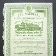 Collezionismo Azioni Spagnole: OBLIGACIÓN RENFE. RED NACIONAL DE FERROCARRILES ESPAÑOLES. SERIE B. 2.500 PESETAS. MADRID, 1952. . Lote 147028066
