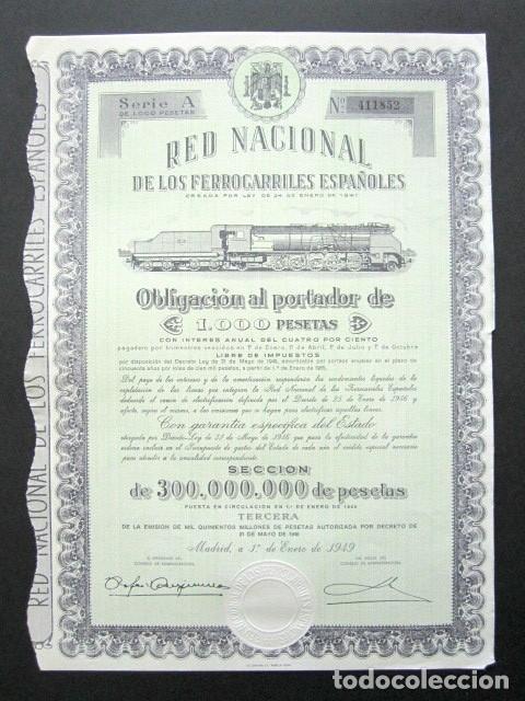 OBLIGACIÓN RENFE. RED NACIONAL DE FERROCARRILES ESPAÑOLES. SERIE A. 1.000 PESETAS. MADRID, 1949. (Coleccionismo - Acciones Españolas)