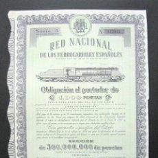 Coleccionismo Acciones Españolas: OBLIGACIÓN RENFE. RED NACIONAL DE FERROCARRILES ESPAÑOLES. SERIE A. 1.000 PESETAS. MADRID, 1949. . Lote 147028378