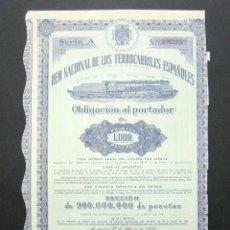 Coleccionismo Acciones Españolas: OBLIGACIÓN RENFE. RED NACIONAL DE FERROCARRILES ESPAÑOLES. SERIE A. 1.000 PESETAS. MADRID, 1951. . Lote 147028470