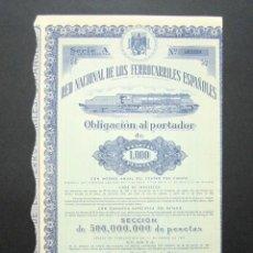 Coleccionismo Acciones Españolas: OBLIGACIÓN RENFE. RED NACIONAL DE FERROCARRILES ESPAÑOLES. SERIE A. 1.000 PESETAS. MADRID, 1951. . Lote 147028526