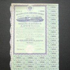 Coleccionismo Acciones Españolas: OBLIGACIÓN RENFE. RED NACIONAL DE FERROCARRILES ESPAÑOLES. SERIE A. 1.000 PESETAS. MADRID, 1949.. Lote 147028678