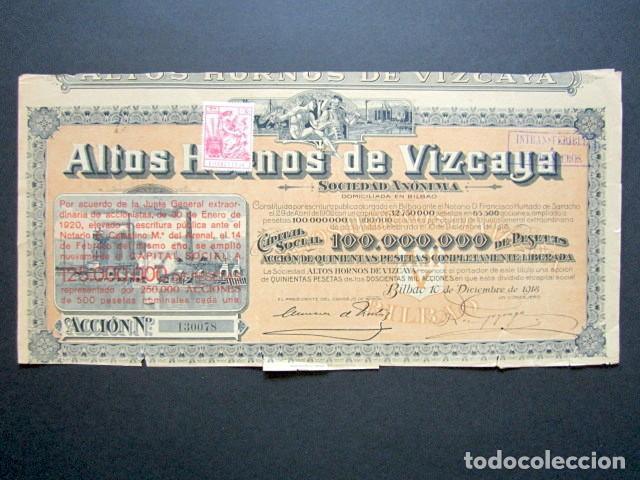 ACCIÓN ALTOS HORNOS DE VIZCAYA S.A. BILBAO, 1918. FIRMA GOYOAGA. (Coleccionismo - Acciones Españolas)