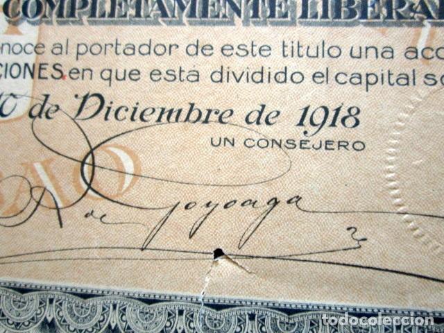 Coleccionismo Acciones Españolas: ACCIÓN ALTOS HORNOS DE VIZCAYA S.A. BILBAO, 1918. FIRMA GOYOAGA. - Foto 2 - 147030182