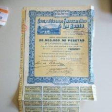 Coleccionismo Acciones Españolas: ACCION AÑO 1926 COMPAÑÍA DE FERROCARRILES DE LA ROBLA BILBAO LEON. Lote 147187306