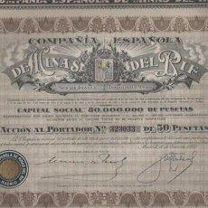 Coleccionismo Acciones Españolas: ACCIÓN COMPAÑIA ESPAÑOLA DE MINAS DE RIF - DE 50 PTAS. ENERO DE 1928. Lote 147239318