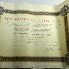 Coleccionismo Acciones Españolas: ELECTROLISIS DEL COBRE - 500 PESETAS - BARCELONA - ABRIL 1946. Lote 147414302