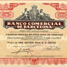Coleccionismo Acciones Españolas: BANCO COMERCIAL DE BARCELONA - ACCION 1924. Lote 147574334