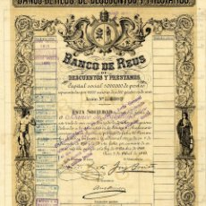 Coleccionismo Acciones Españolas: BANCO DE REUS - ACCION 1912. Lote 147575574