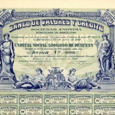 Coleccionismo Acciones Españolas: BANCO DE VALORES Y CREDITO - ACCION 1922. Lote 147575838