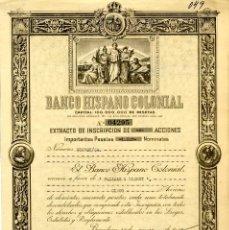Coleccionismo Acciones Españolas: BANCO HISPANO COLONIAL - EXTRACTO DE INCRIPCION 1948. Lote 147576458