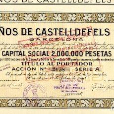 Coleccionismo Acciones Españolas: BAÑOS DE CASTELLDEFELS - ACCION 1930. Lote 147579462