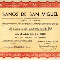 Coleccionismo Acciones Españolas: BAÑOS DE SAN MIGUEL - ACCION 1945. Lote 147579582