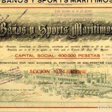 Coleccionismo Acciones Españolas: BAÑOS Y SPORTS MARITIMOS - ACCION 1921. Lote 147579758