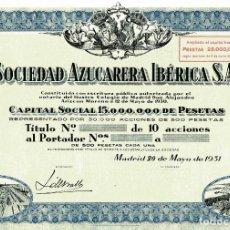 Coleccionismo Acciones Españolas: SDAD AZUCARERA IBERICA - TITULO 10 ACCIONES 1931. Lote 147584746