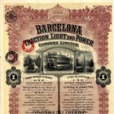 Coleccionismo Acciones Españolas: BARCELONA TRACTION, LIGHT & POWER - ACCION ORDINARIA 1935. Lote 147585834