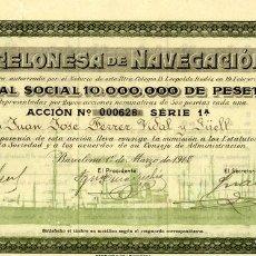 Coleccionismo Acciones Españolas: BARCELONESA DENAVEGACION - ACCION 1918. Lote 147586306