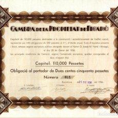 Coleccionismo Acciones Españolas: CAMBRA DE LA PROPIETAT DE FIGARO - OBLIGACIO 1936. Lote 147586714