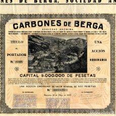 Coleccionismo Acciones Españolas: CARBONES DE BERGA - ACCION 1930. Lote 147586930