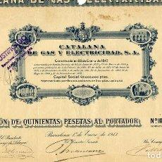 Coleccionismo Acciones Españolas: CATALANA DE GAS Y ELECTRICIDAD - ACCION 1913. Lote 147587070